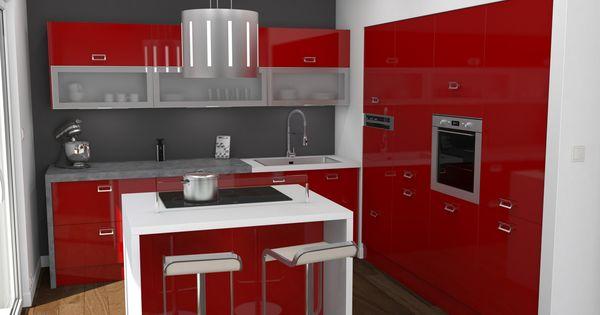 Cuisine rouge brillante ouverte implantation en l avec for Dimension ilot central