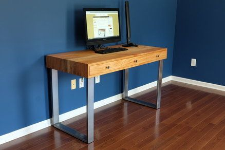 Diy Modern Computer Desk With Integrated Cable Management My Wife And I Designed This Desk And I Built It Modern Computer Desk Desk Cable Management