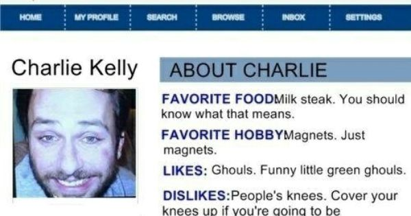 Charlie it's always sunny dating profile