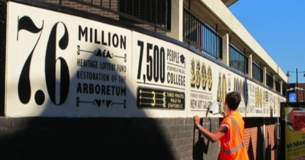 Typographic Signage Design Tells The Story Of Walsall In Numbers Signage Outdoor Signs Outdoor Advertising