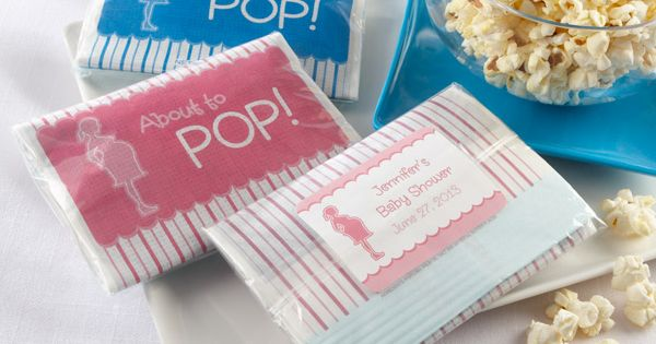 Cute 'about to Pop' popcorn party favors for mom's baby shower. Include