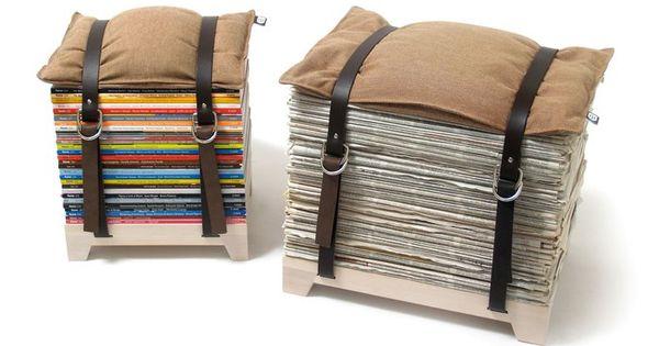a fun diy idea! magazine storage stool, make with belts?