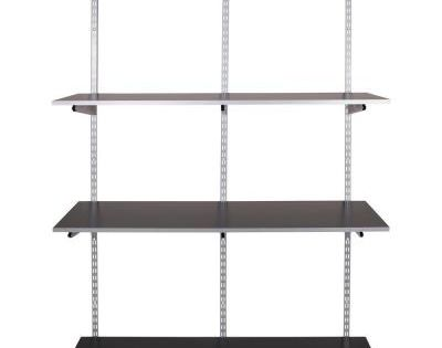 Rubbermaid Fasttrack Garage 4 Shelf 48 In X 16 In Laminate Shelving Kit With Rail 1937613 The Home Depot Wall Shelving Systems Shelving Shelves