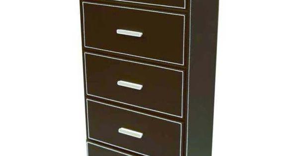 Meuble de rangement 5 tiroirs en simili cuir simili cuir for Meuble tiroir cuir