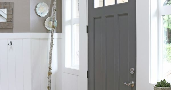 Charcoal Painted Front Door - The Inspired Room. Benjamin Moore -- Kendall