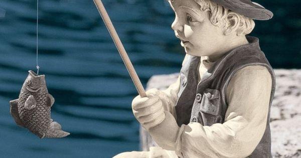 Boy statue gone fishing pole yard decor fish garden art for Little boy fishing statue