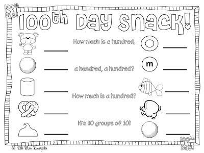 100th Day Snack Math Freebies 100 Days Of School 100th Day Kindergarten Lessons