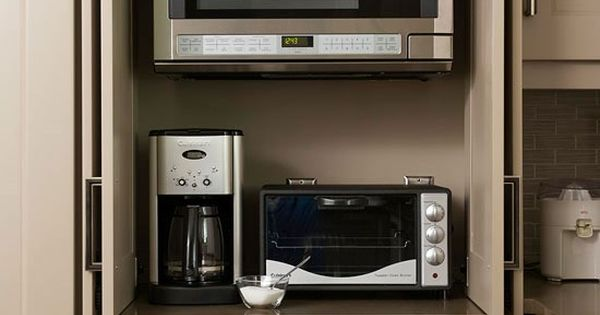 Appliance Cabinet Enclosed Microwave And Toaster Oven