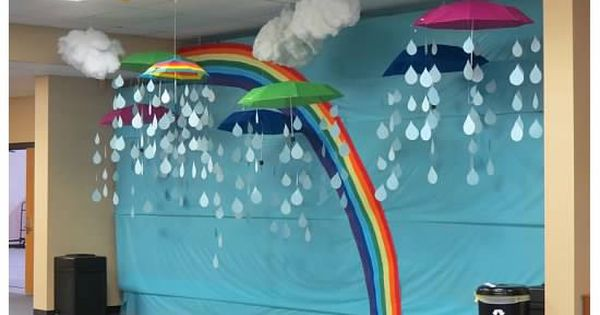 Classroom Bulletin Board Decoration Ideas ~ Rainbow bulletin board w hanging d clouds raindrops and