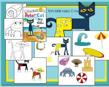 Visuals To Be Used With The Book Pete The Cat At The Beach By James Dean These Images Work Great For Storytelling And Comprehen Pete The Cat Cat Activity Cats