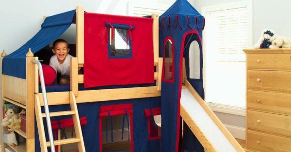 Kinderzimmer spielhaus hochbett design rutsche treppe kommode ...