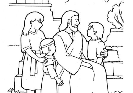 An illustration of christ blessing the children from the for Jesus blesses the children coloring page