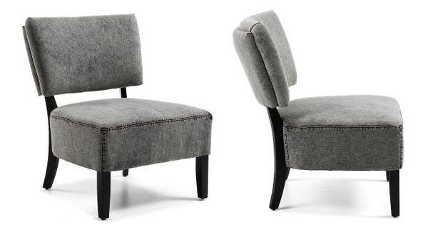 Butaca capiton tapizada en tela de tejano gris con pies for Butacas diseno italiano