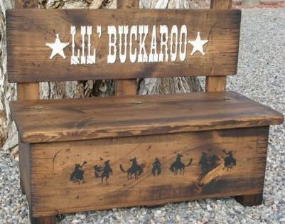 """""""Lil Buckaroo"""" toy storage and bench"""