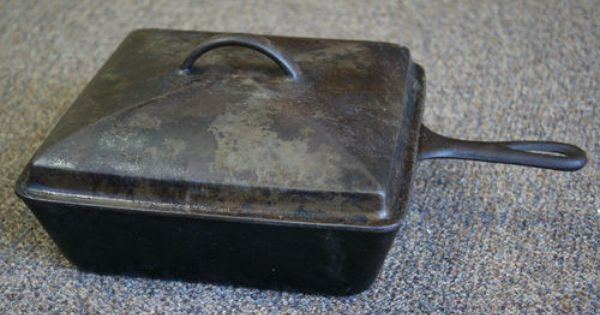 Antique Wagner Ware 1400 Chicken Fryer Cast Iron 10 Quot Square Skillet With Lid Ebay Cast Iron