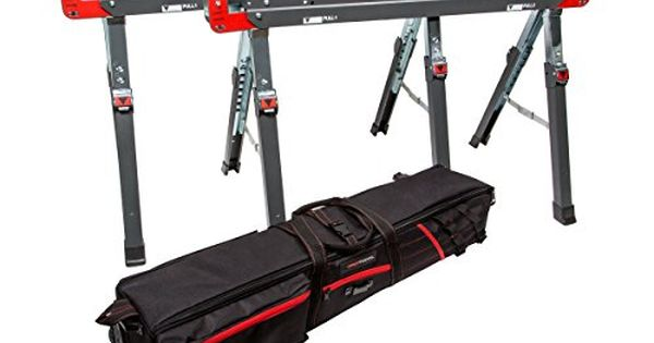 PROTOCOL Equipment 93199 42 Inch Adjustable Height Metal Folding Sawhorse,  Set Of 2 With Wheeled Travel And Storage Bag Includes Two 42 Inch Sawhou2026