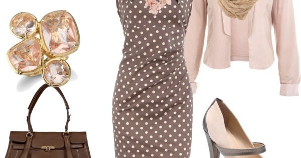 Classy Outfit - brown and pink polka dot dress