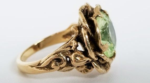 10k Gold Green Spinel Ring 3 5 Carats Floral Design Size 4 25 Gift For Her In 2020 Rings For Men Black Faux Leather Gold
