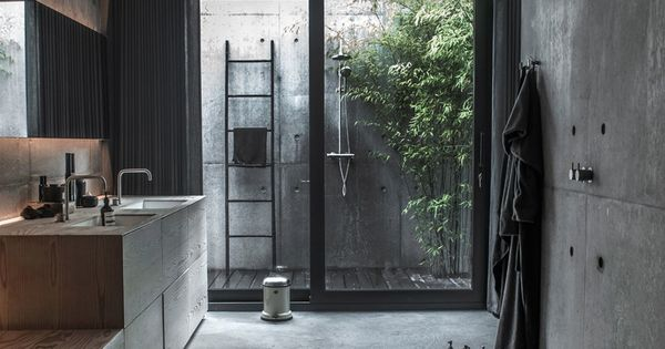 For A Moody Cool Wet Room Like This Use Concrete Effect Porcelain