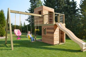 Traditional Playset Landscape Design Ideas Pictures Remodel And Decor Backyard Play Play Structure Playhouse Outdoor