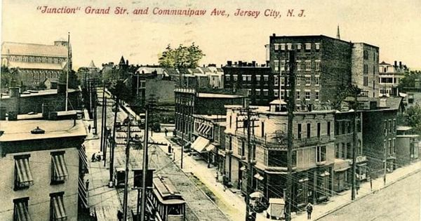 Junction Grand Street And Communipaw Avenue Jersey City Nj Postmarked Postcard February 1910 Jersey City Hudson County Menlo Park Mall