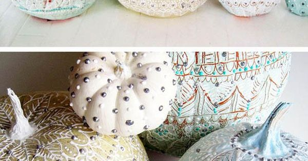 diy winter wonderland pumpkins... orinental-inspired painted for a winter decoration with a