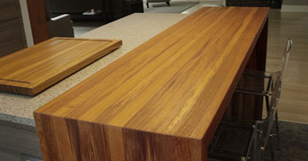 Waterfall Style Standard Plank Wood Counter Tops Waterfall Countertop Waterfall Wood Countertop Open Concept Home