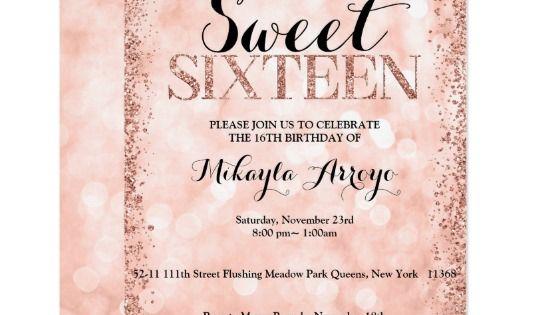 Rose Gold Faux Glitter Lights Sweet 16 Birthday Invitation Zazzle Com 16th Birthday Invitations Sweet 16 Birthday 16th Birthday