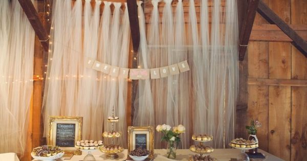 tulle dessert table backdrop. photo by Brad Claypool