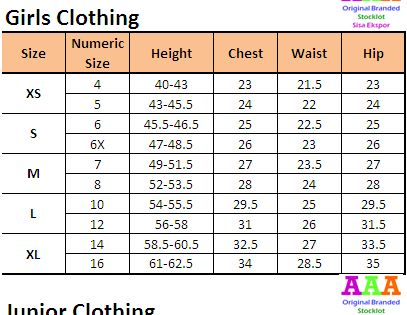 Tabel Ukuran Baju Anak