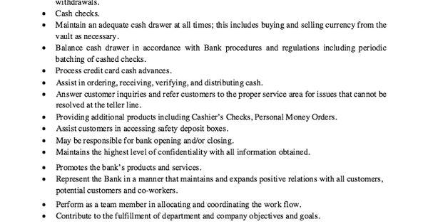 Job Description Bank Teller - Http://exampleresumecv.org/job-description-bank-teller/