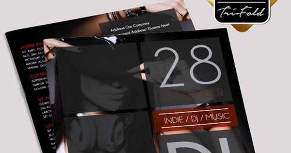DJ Music V31 Premium Bi-Fold PSD Brochure Template GFXTRA - music brochure