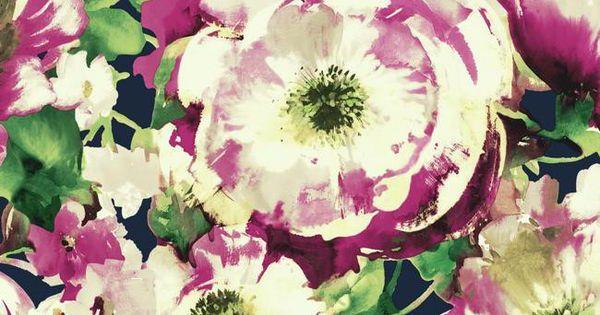 Poppy Wallpaper Home Interior : Watercolor Poppy Wallpaper in Fuschia ...