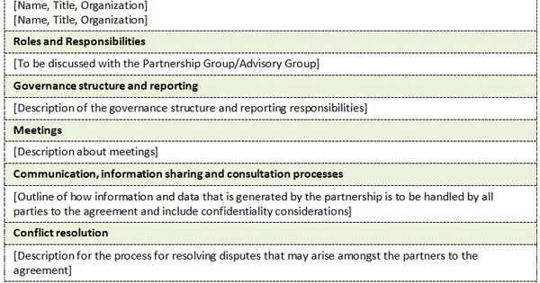 Memorandum of understanding Template for Partnership Projects to - data confidentiality agreement
