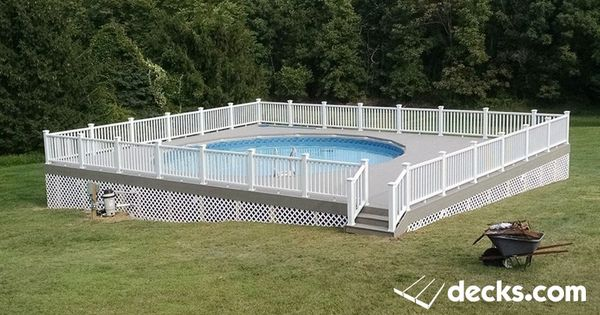 Above ground pool deck with white lattice vinyl railing composite deck pictures - Above ground composite pool deck ...