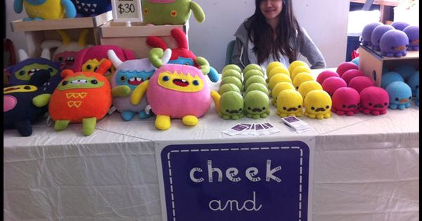 Clean And Simple Display Of Stuffed Toys At Craft Fair