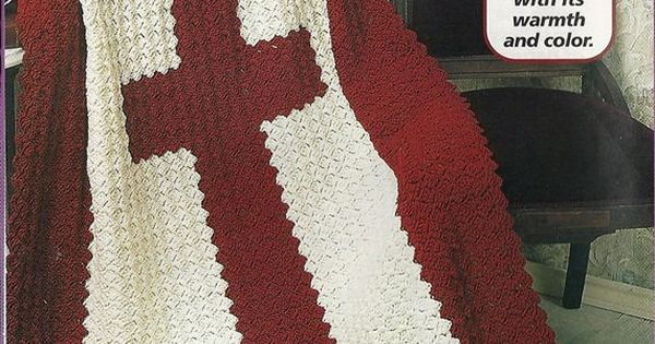 Cross Afghan Crochet Pattern Religious Blanket Throw Home