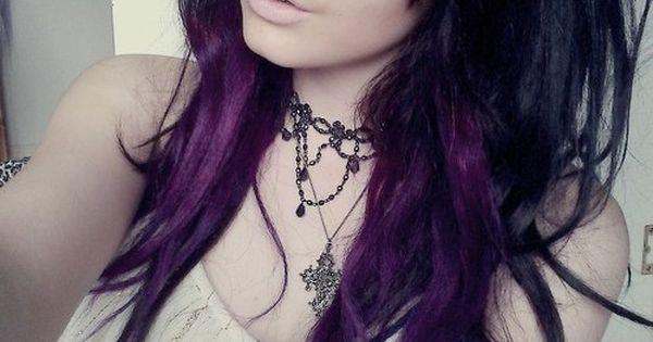 Purple Highlights in Brown Hair | black and purple hair - Hairstyles