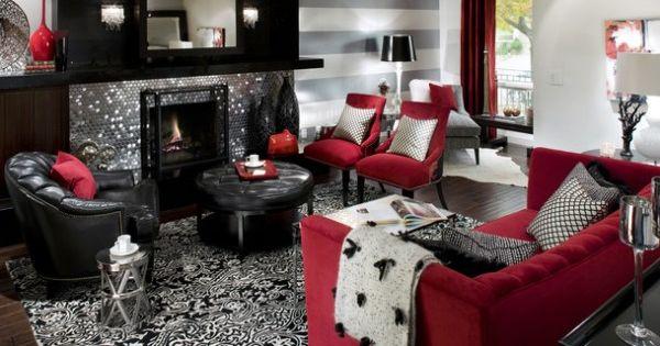 Red Black White Living Room Ideas Black White And Red Pinterest W