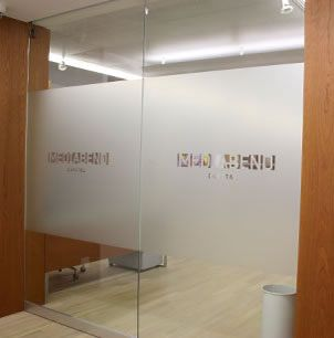 Media Bend Office Door With Drop Out Logo Front View