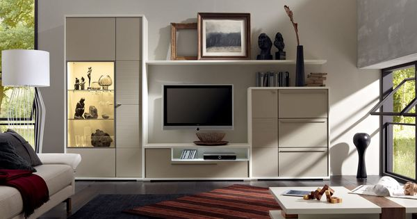 Contemporary Tv Wall Unit In White Wall With Simple Shelvie And