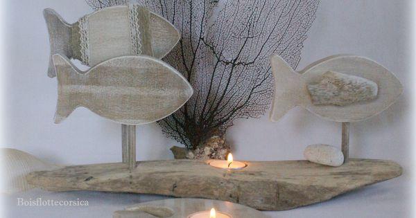 2 bougeoirs bois flotte et bois patin d co bord de mer for Chandelier bois flotte