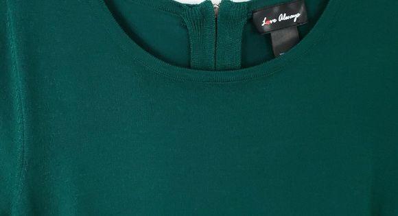 Love Always | Dark Green Sweater Side Ruching | Dark green