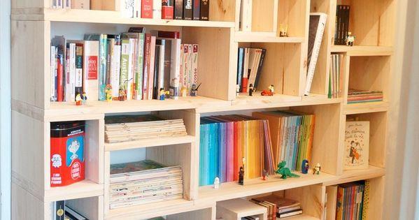 fabriquer sa biblioth que en bois sur mesure bricolage pinterest bois sur mesure. Black Bedroom Furniture Sets. Home Design Ideas