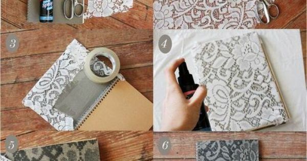 diy painted lace journal cover manualidades 3 pinterest notizbuchdeckel notebooks und sprays. Black Bedroom Furniture Sets. Home Design Ideas