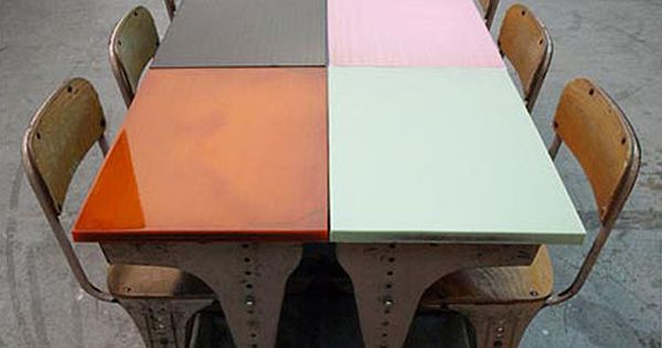 Colorful school desks dining room table