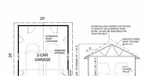 Two car garage with plan 500 1 20 x 25 39 by behm design for 20 x 26 garage