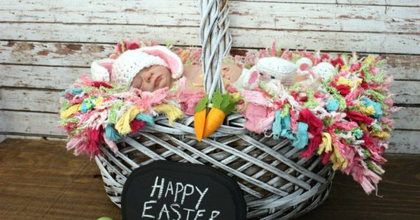 Easter basket with eggs, chalkboard sign, bunny hat & cotton ball for