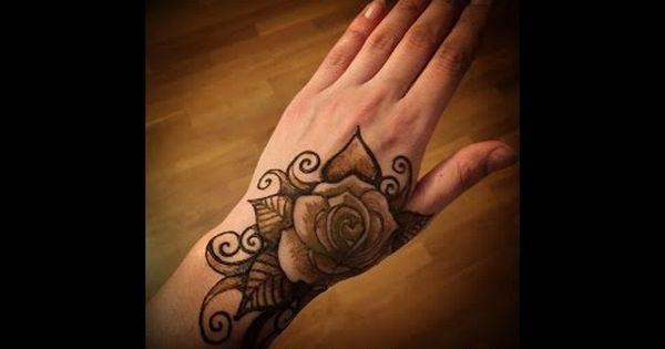 نقش حناء على شكل وردة نقش حناء ورد الجوري Tribal Tattoos Henna Tattoo Polynesian Tattoo
