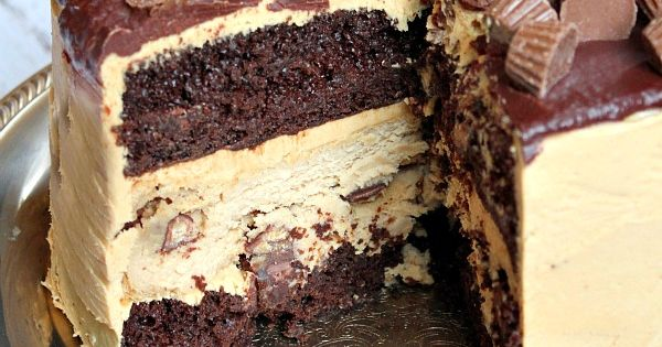 Chocolate Peanut Butter Cup Cheesecake Cake recipe - RecipeGirl.com : Two layers